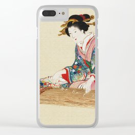 Japanese Lady Playing the Koto Clear iPhone Case