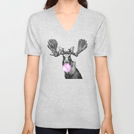 Bubble Gum Moose in Black and White Unisex V-Neck
