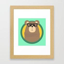 Nerd Brown Bear with cirlce Framed Art Print