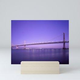San Francisco - Oakland Bay Bridge at Night Mini Art Print