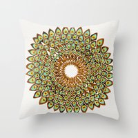 70s Throw Pillows featuring Peacock Mandala – 70s Palette by Cat Coquillette