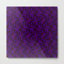 A chaotic mosaic of convex rhombuses with violet intersecting bright lines and squares. Metal Print