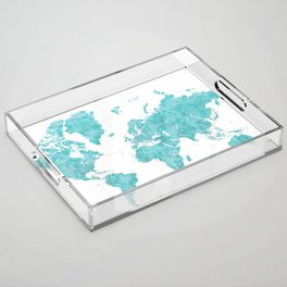 Highly detailed watercolor world map in aquamarine Acrylic Tray