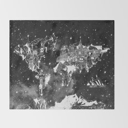 world map galaxy black and white Throw Blanket
