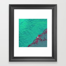 Claire´s treasure I - Pink lace,ribbon and pearl on aqua backround Framed Art Print