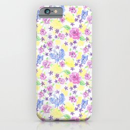 Butterflies With Roses and Flowers Hand Painted In Watercolors and Gouche iPhone Case