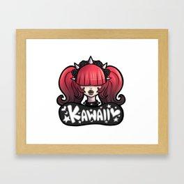 Red/Black Goth Kawaii Girl Framed Art Print