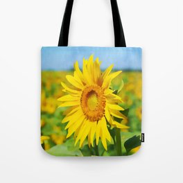 The Tallest Sunflower   Vivid Watercolor Painting Tote Bag