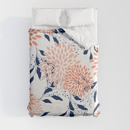 Floral Prints and Leaves, White, Coral and Navy Duvet Cover