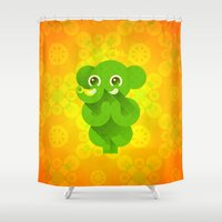 ganesha Shower Curtains featuring Ganesha by Plushedelica