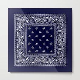 Bandana - Navy Blue - Southwestern Metal Print