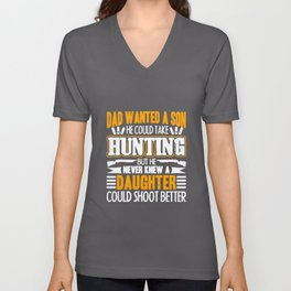 Hunting Dad Daughter Unisex V-Neck