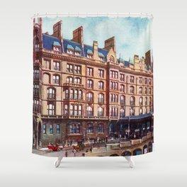 Vintage St Enoch railway station hotel Glasgow Shower Curtain
