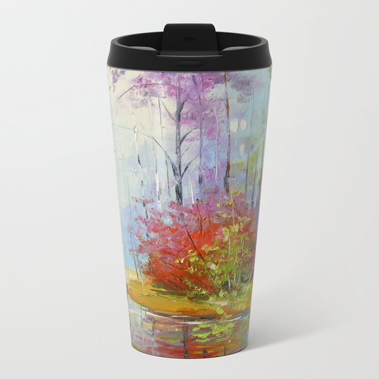 A walk in the autumn woods Metal Travel Mug