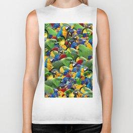 Parrots collage birds photo print parrots pattern green blue red yellow Biker Tank