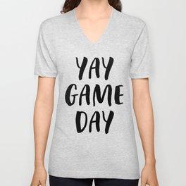 Yay Game Day Football Sports Black Text Unisex V-Neck
