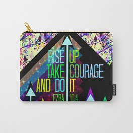 RISE UP TAKE COURAGE AND DO IT Colorful Geometric Floral Abstract Painting Christian Bible Scripture Carry-All Pouch