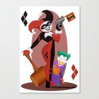 harley quinn Canvas Prints featuring Harley Quinn  by Katie Simpson a.k.a. Redhead-K