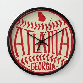 Atlanta Georgia Baseball - Hand Drawn, Script Typography Wall Clock