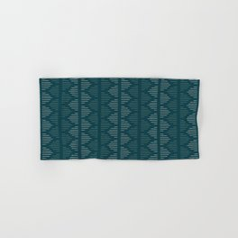 Minimalist Mudcloth 3 in Cream and Olive on Teal Hand & Bath Towel