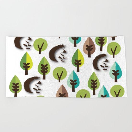 Hedgehog Forest Beach Towel