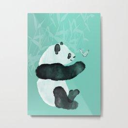 Panda meets Butterfly Metal Print