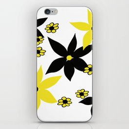 Yellow and Black Flower iPhone Skin