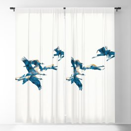 Beautiful Cranes in white background Blackout Curtain