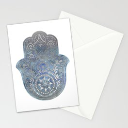 Silver Blues Hamsa Hand Stationery Cards