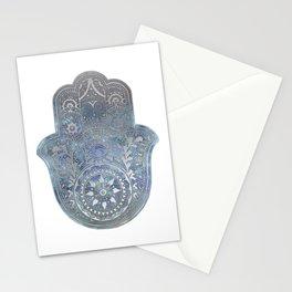 Silver Blues Hamsa Hand Stationery Cards