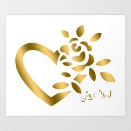 Gold Valentine Heart and Rose Art Print