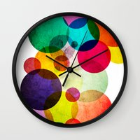 bubbles Wall Clocks featuring Bubbles by Lawson Images