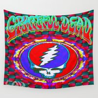 grateful dead Wall Tapestries featuring Grateful Dead #10 Optical Illusion Psychedelic Design by CAP Artwork & Design