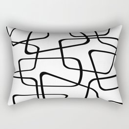 Mid Century Black And White Pattern Rectangular Pillow