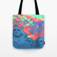 rushmore Tote Bags featuring Mt Rushmore by Calepotts