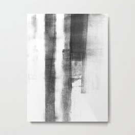 "Black and White Minimalist Geometric Abstract Painting ""Structure 2"" Metal Print"