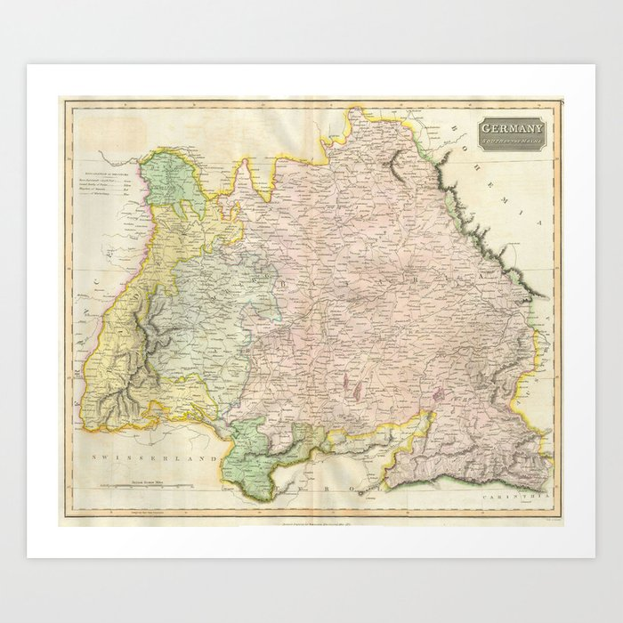 Map Of Germany To Print.Vintage Map Of Bavaria Germany 1814 Art Print By Bravuramedia