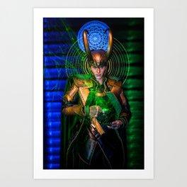 Little Loki's Green Tea Art Print