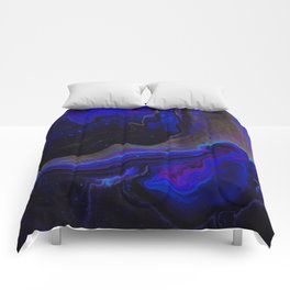Dark Purple Blue Galaxy - Midnight Shades Comforters