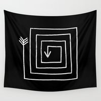 arrow Wall Tapestries featuring Square Arrow by Terry Fan