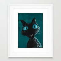 coraline Framed Art Prints featuring Coraline Cat by Jean Michell