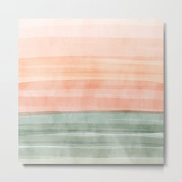 Soft Green Waves on a Peach Horizon, Abstract _watercolor color block Metal Print