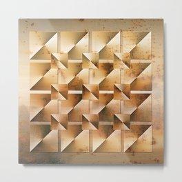 Rusty Geometry Gold Tones Metal Print