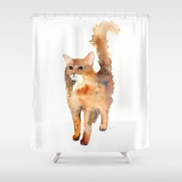 Ginger Fluffy Cat Shower Curtain