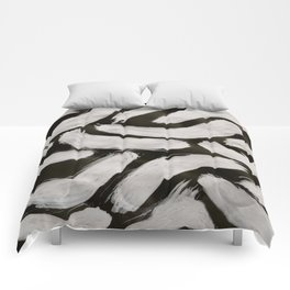 Worms, Abstract, White & Black Comforters