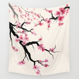 Sumi-e cherry blossoms Wall Tapestry