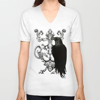 raven V-neck T-shirts featuring Raven by Кaterina Кalinich