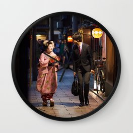 One Night in Gion Wall Clock