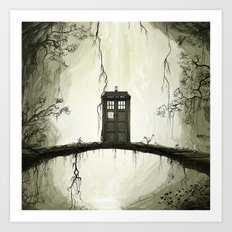 Tardis in the forest Art Print