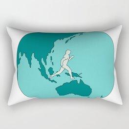 Marathon Runner Around World Drawing Rectangular Pillow